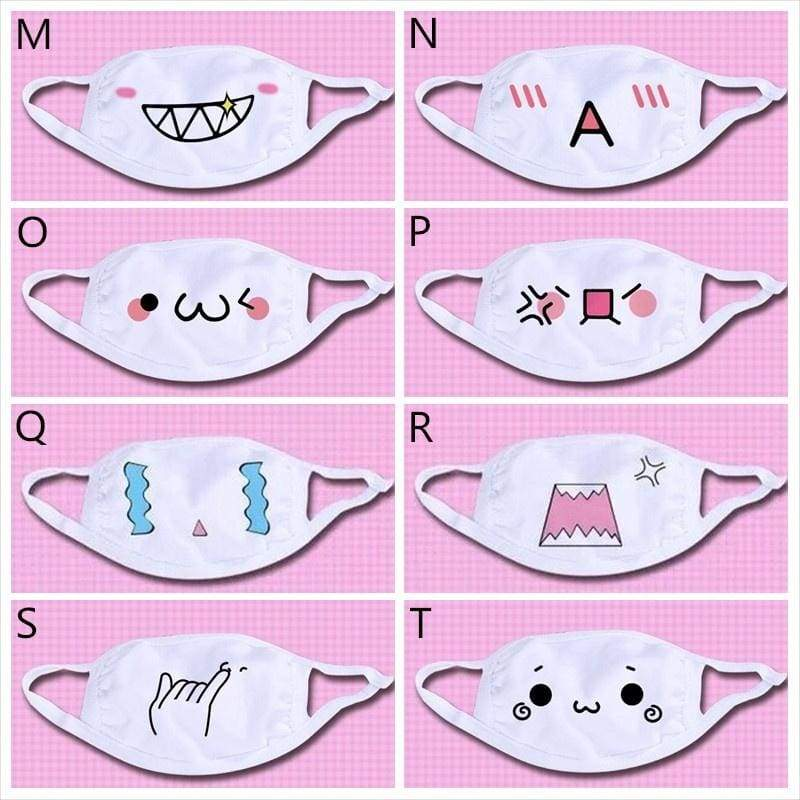 Fashion Cute Cartoon Pattern Solid White Cotton Face Mask Women's Masks 3D Print Expression Pattern Half Face Mouth Muffle Masks Health Beauty Accessories.
