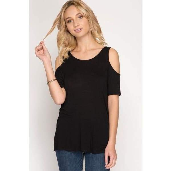 Women Fashion Casual Short Sleeve Solid Criss Cross Drape Back T-shirt Plus Size Cold Shoulder Tops Blouses