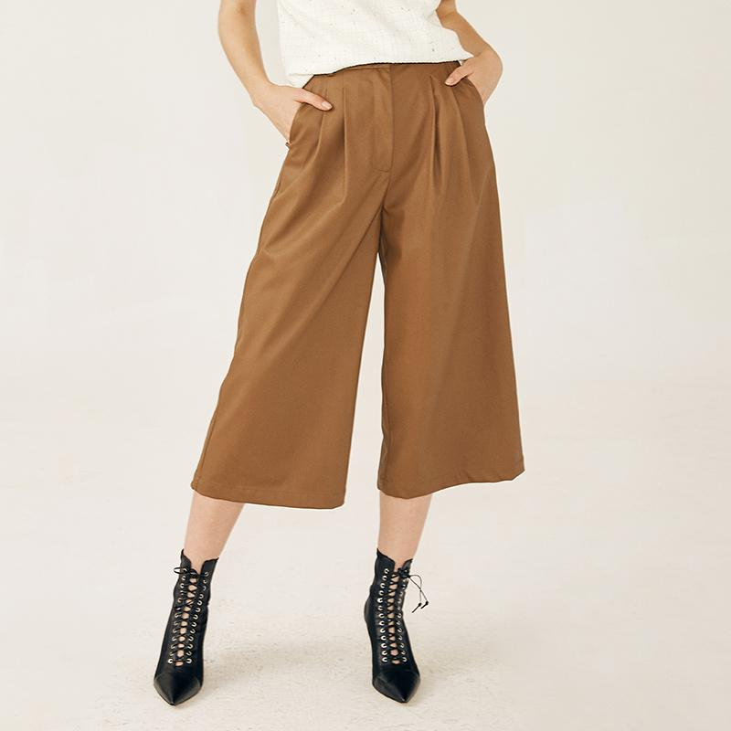 Spring and autumn new design pu faux leather high waist green cropped wide leg pants-carrot trousers 2.11