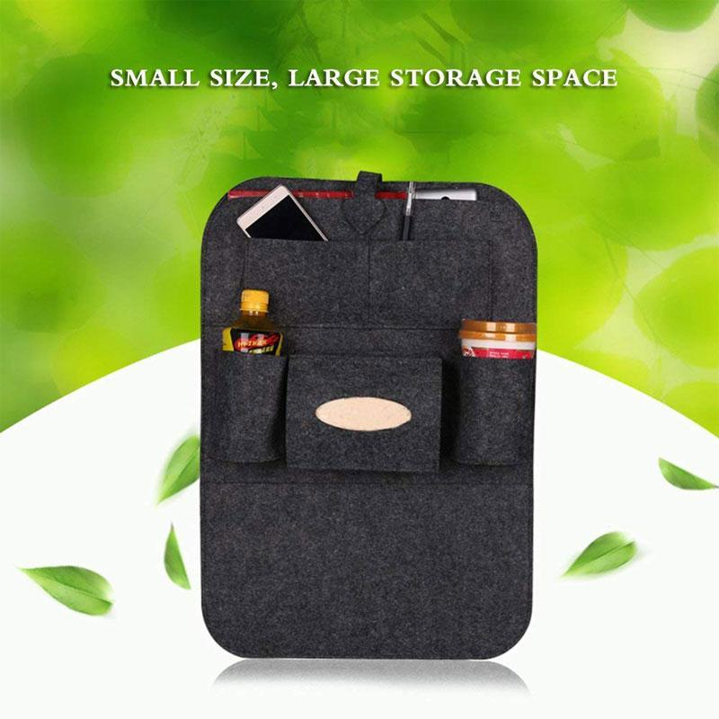 2 Pack Felt Fabric Car Seat Back Organizer Storage Bag with 6 Pockets