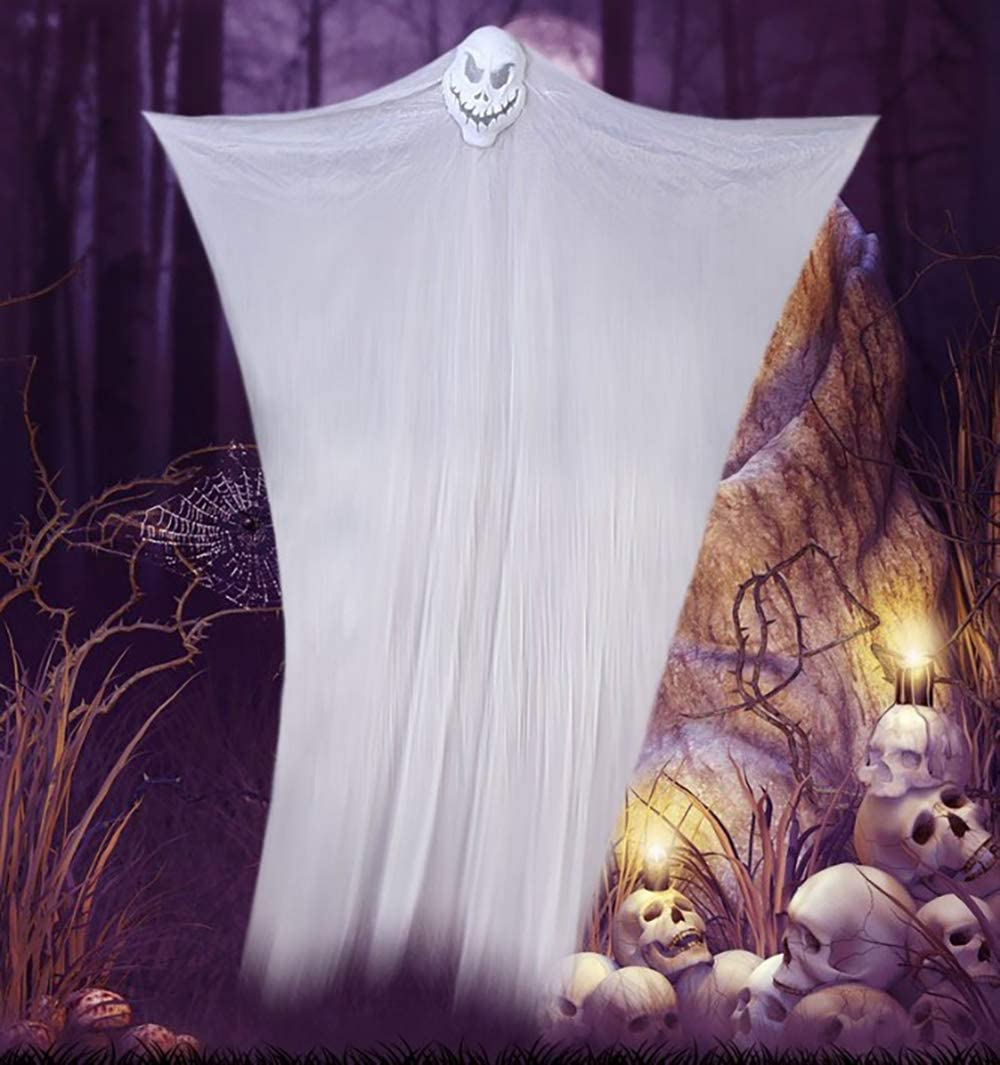 Halloween horror hanging ghost mask gauze hanging ghost decoration