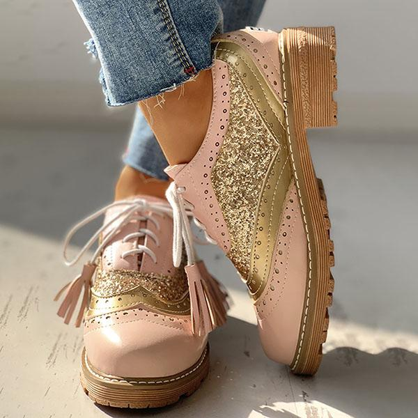 Faddishshoes Lace-Up Sequins Insert Chunky Heeled Boots