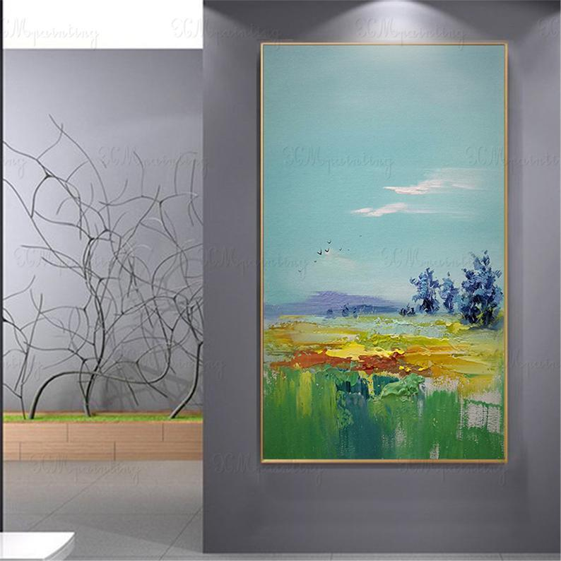 Gold acrylic original abstract oil painting on canvas wall art picture for living room home wall decor gold art blue landscape thick texture