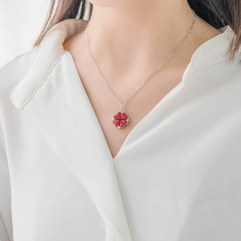 Arosetop Red Heart Four-leaf Clover Necklace Pendant