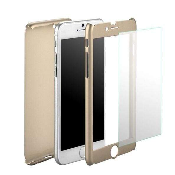 I6/6s 4.7 5.5 Luxury Gold Hard PC Case for Iphone 6 / Iphone 6 Plus Front Clear Glass Film Metal Back Cover Coverage of 360 Degree