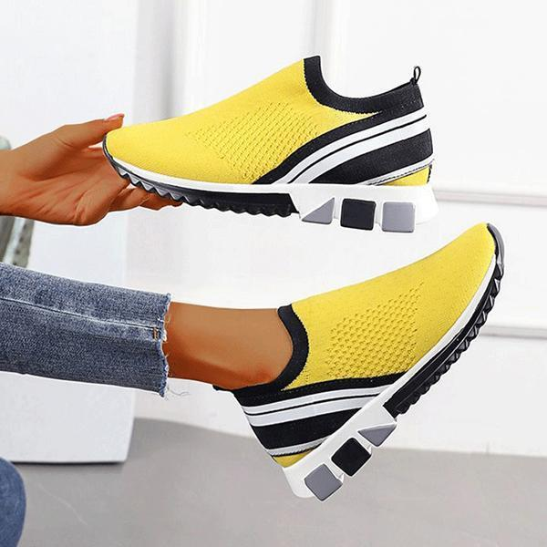 Lemmikshoes Women Casual Flyknit Fabric Hit Color Sneakers