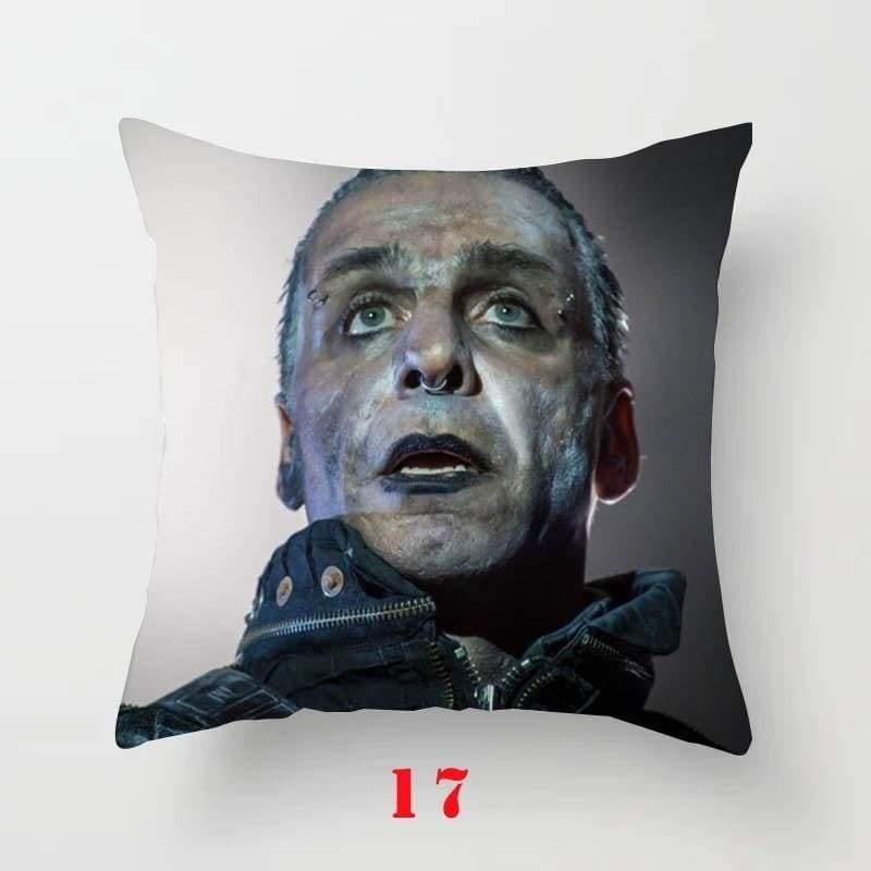 1PC 45*45cm HEAVY METAL Rammstein Lead Vocal Till Lindemann Print Pillow Sofa Car Bed Sofa Pillow Case Bedroom Decoration Cushion Cover(Without Inner)