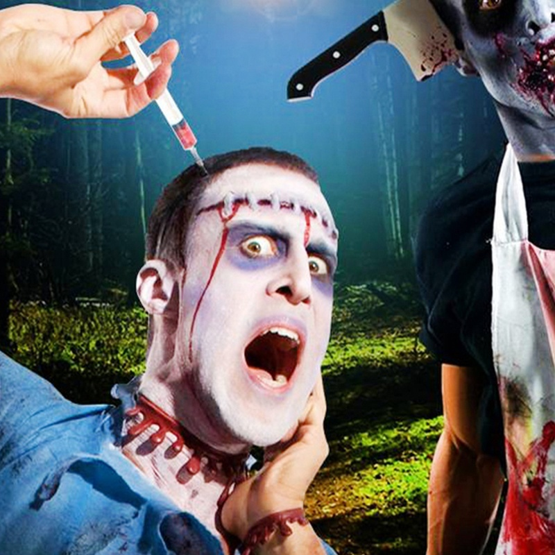 Fake Ax Saw Syringe Scissors Knife Scary Halloween Headband Makeup Tricky Props Horror Party Decoration DIY Hair Accessories