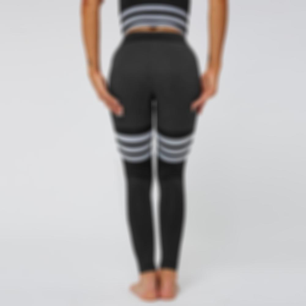 Women Leggings High Waist Peach Hips Gym Leggings Quick-drying Sports Stretch Fitness Pants Stripe Pattern
