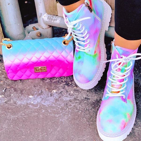 Faddishshoes Multicolor Rainbow Tie-Dye Sneakers