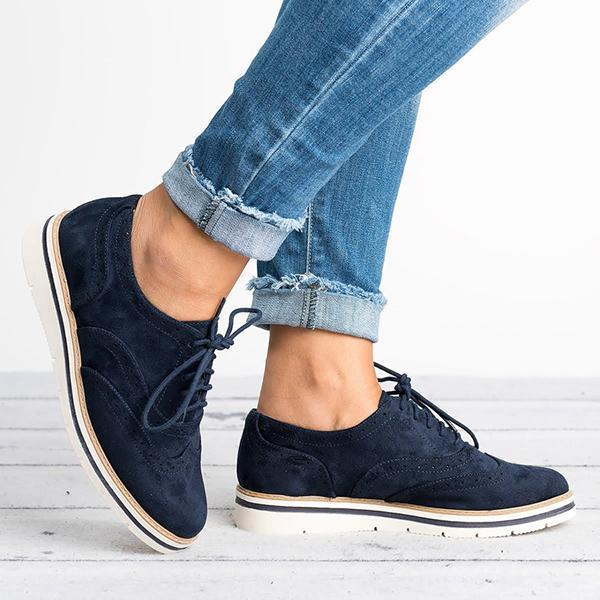Twinklemoda Women'S Lace Up Perforated Oxfords Flats
