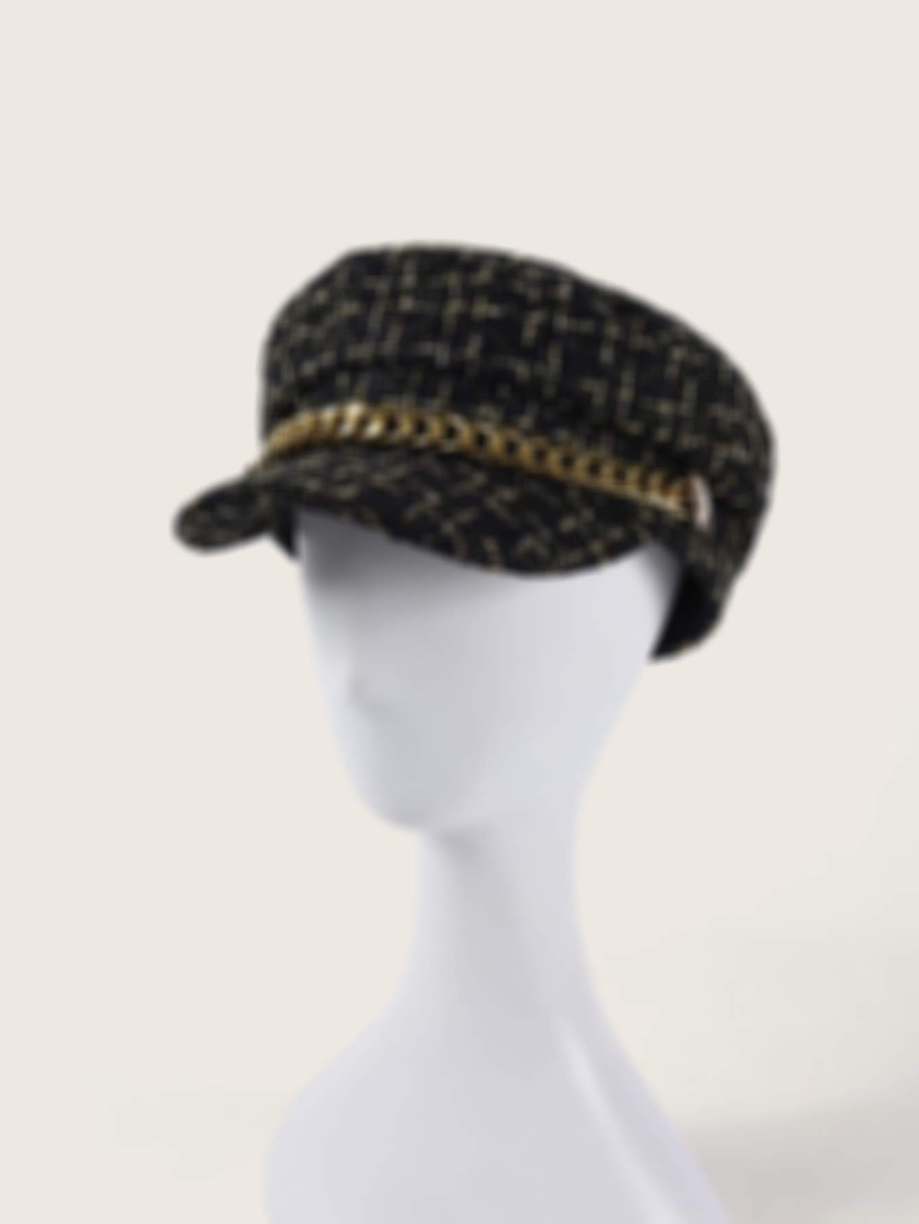 Chain Decor Tweed Newsboy Hat