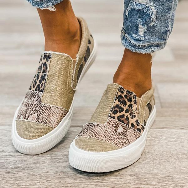 Trendymap Pieced Raw Edge Animal Print Canvas Slip-On Flats/Sneakers