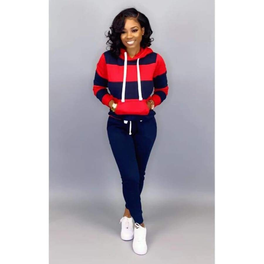 New Autumn Winter 2 Piece Hooded Sweat Shirt Sweat Pants for Women Stitching Casual Loose Sport Suits Jogging Femme