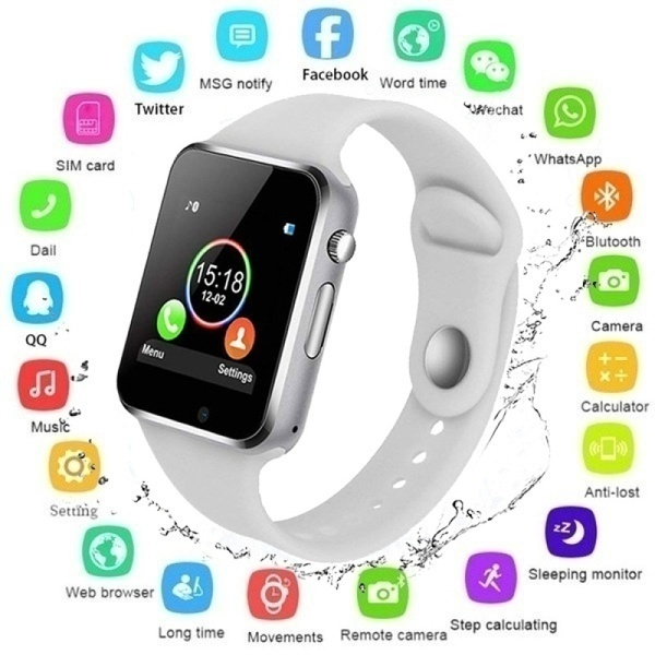 NEW Waterproof Smart Watch Bluetooth GSM Sim Phone Pedometer Sedentary Remind Sleep Monitor Remote Camera For Android/iOS Square Mirror Face Silicone Band Digital Watch Red LED Watches Metal Frame WristWatch Sport Clock Hours
