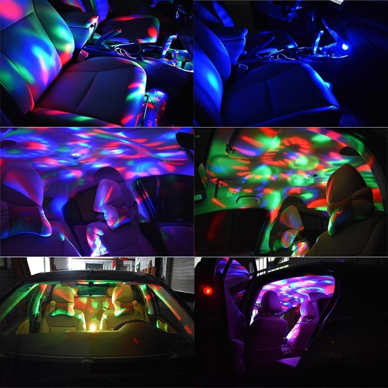 Car Interior Lights Decorative Lamp Led Mini RGB Colorful Atmosphere Light Auto USB DJ Disco Stage Effect Lights Car Styling