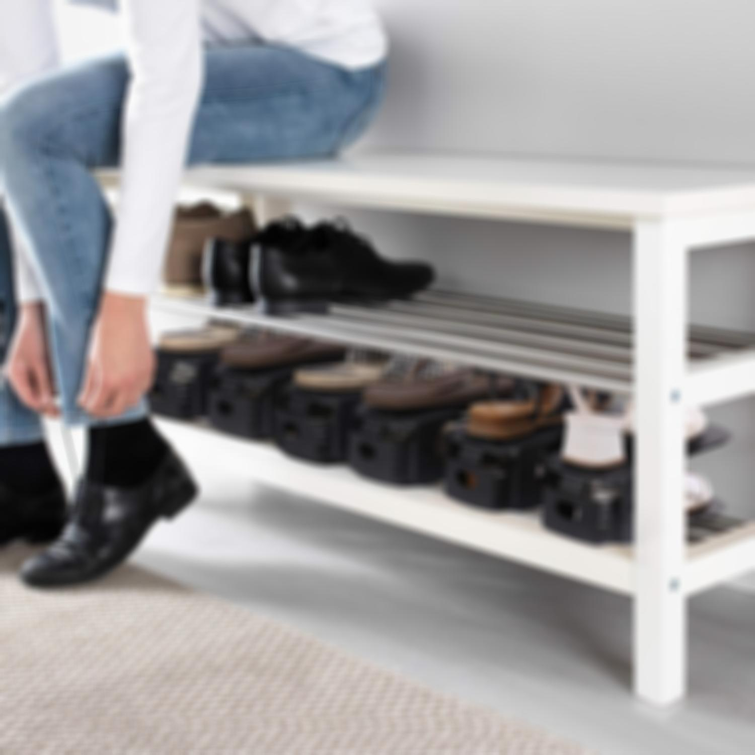 Arosetop 20 Pcs Adjustable Double Deck Shoe Rack & Shoe Organizer Space-Saving Storage