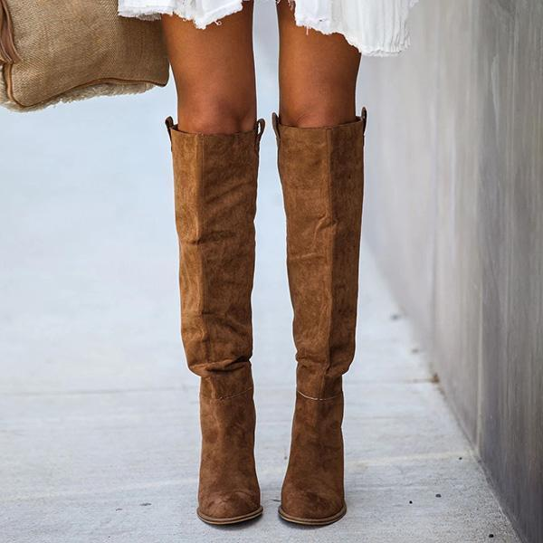 Faddishshoes Distressed Faux Suede Slouch Boots