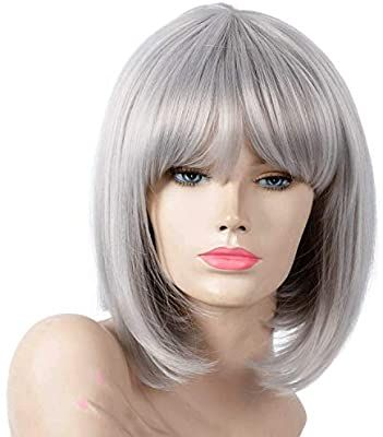 2020 New Gray Hair Wigs For African American Women Closure Bob Wig 2020 New Gray Hair Wigs Online Joan Jett Wig New Gray Hair Color Curly Ponytail Wig