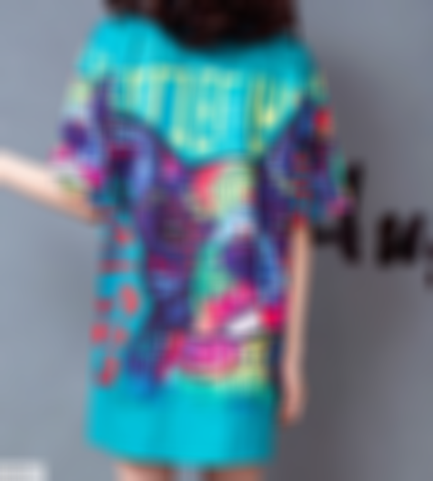 Tide brand plus size cartoon printed short-sleeved T-shirt dress women