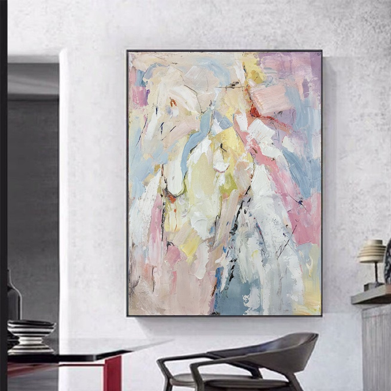 Hand-painted pink color block abstract oil painting artist home decorative art abstract canvas oil painting