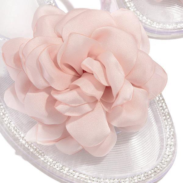 Faddishshoes Blossom Clear Thong Strap Embellished Outter Sole Slippers