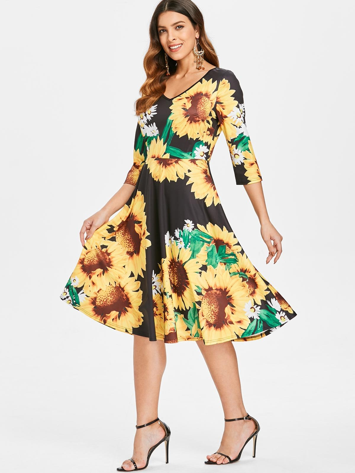 Sunflower Print Fit and Flare Dress