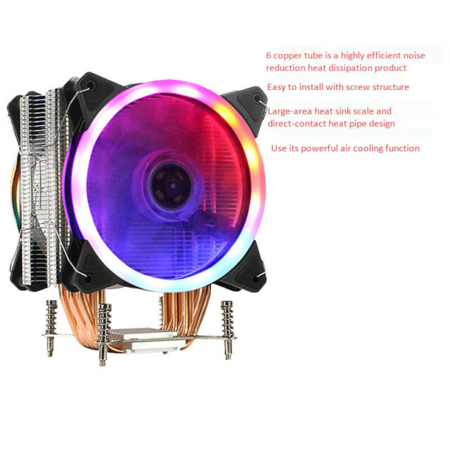 Aurora Multicolored Silent CPU Cooler-6 pure copper backflow heat pipes, suitable for Intel\DELL\ADM, etc.