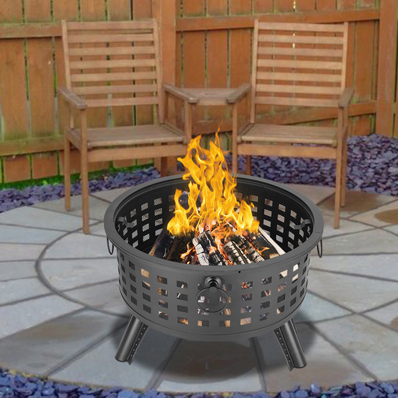Buyonhome Round Metal Lattice Fire Pit Fire Bowl Outdoor BBQ Burn Grill Patio Brazier