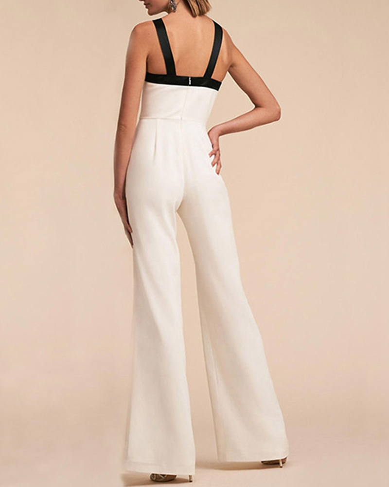 Contrasting Color Sleeveless Suspender Jumpsuit