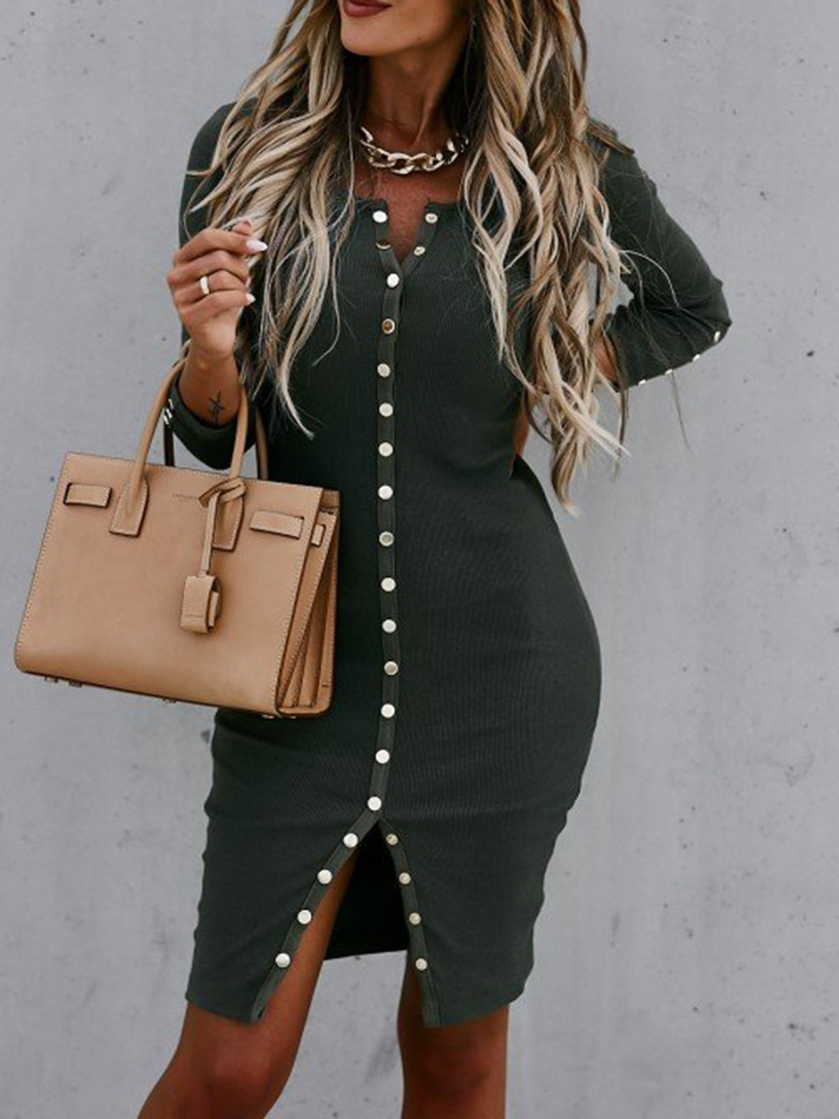 Women's sexy tight-fitting long-sleeved dress