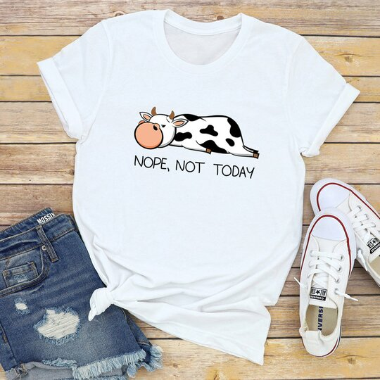 Women's Lazy Cow Nope, Not Today Print Short Sleeve T-shirt