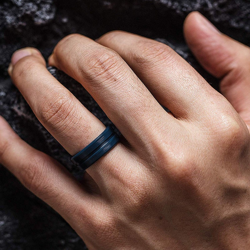 8 Colors Men Silicone Sprts Rings Rubber Work Outdoor Band Ring Wide Stackable Durable Affordable Ring for Men