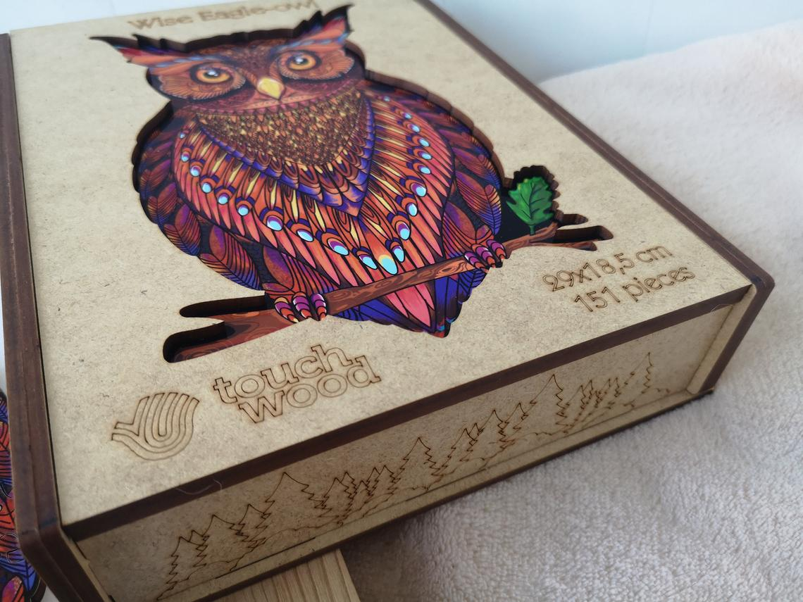 Wooden Jigsaw Puzzle Charming Male owl-1