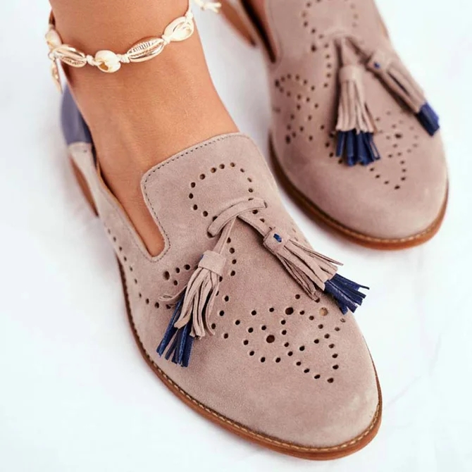 Fringed Hollow Color Block Shoes