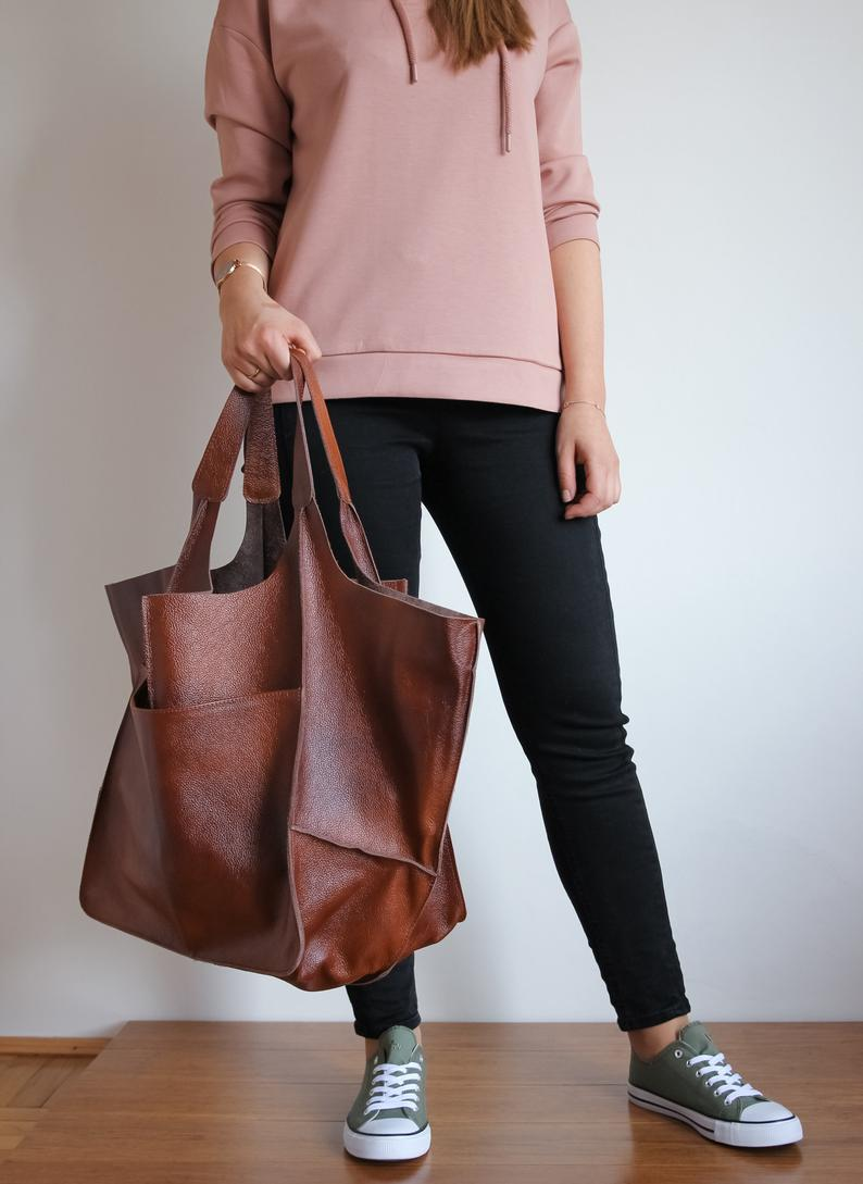 COGNAC LEATHER TOTE bag, Slouchy Tote, Cognac Handbag for Women, Every Day Bag, Women leather bag, Weekender Oversized bag
