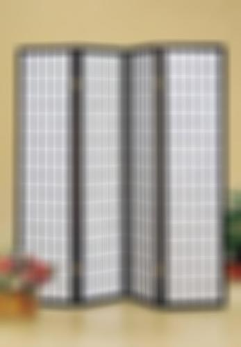 4 Panel Room Divider Oriental Style Wooden Privacy Curtain Screen Black Frame