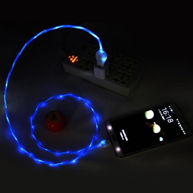 1m Cool LED Visible Flowing Micro USB Charging Cable for iPhone/Android