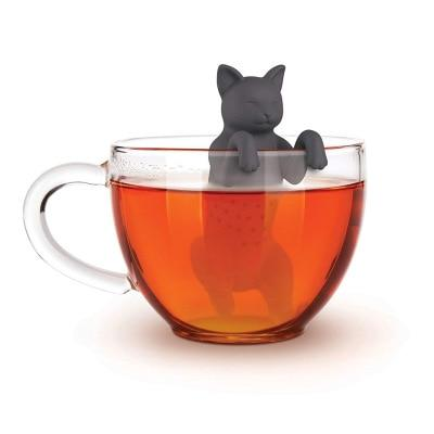 Black Grey Pet Cat Tea Infuser Food Grade Silicone Rubber Purrtea Animal Dog Tea Infuser Tea Strainer