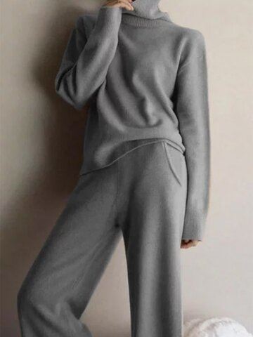 Knit Long Sleeve Two Piece Set