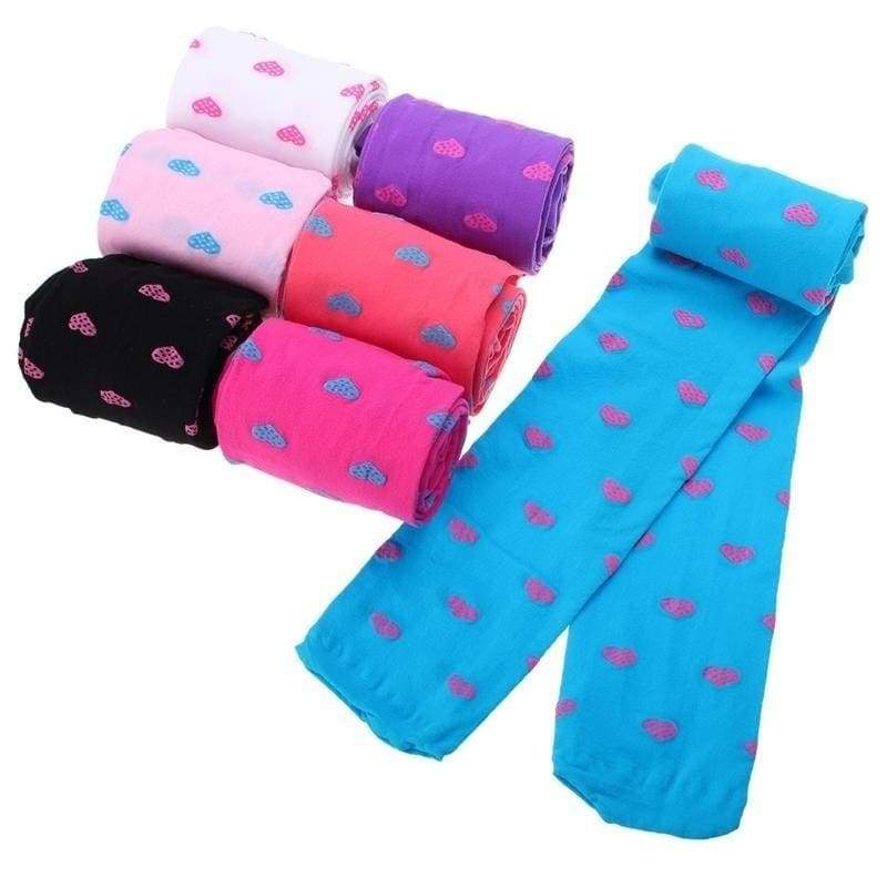 Child Girls Footed Heart Dots Tights Stockings Ballet Candy Colors Opaque Velvet Tight Stocking 3-8Y
