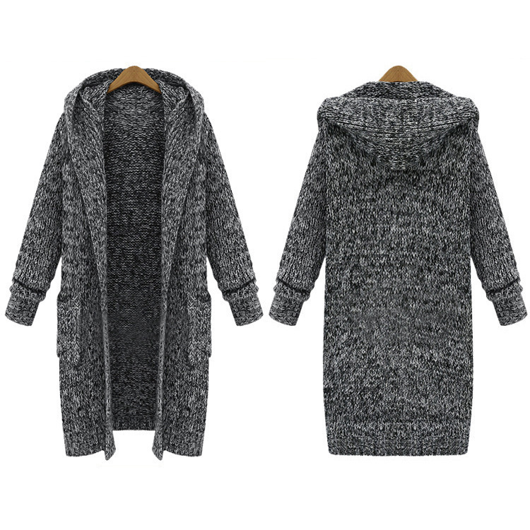 Oversized knitted cardigan loose hooded sweater