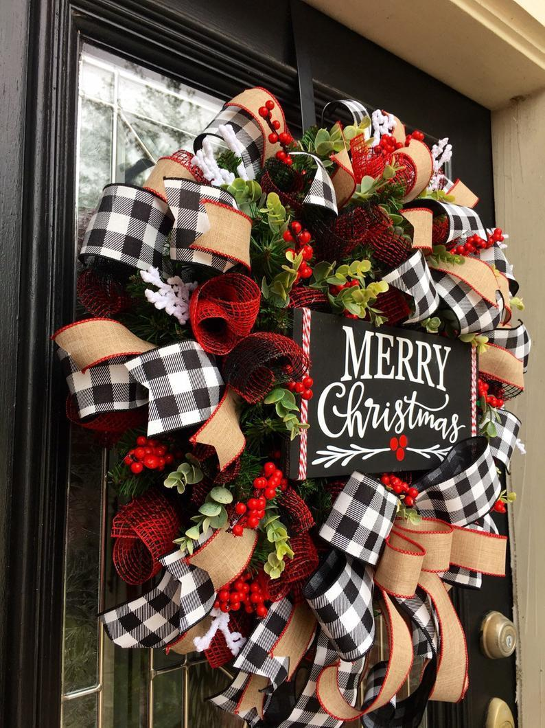 Christmas Buffalo Check Wreath