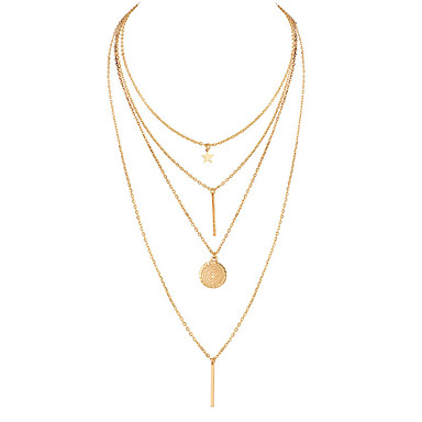 Women's Chain Necklace Y Necklace Layered Necklace Coin Bar Star Ladies Bohemian European Fashion Alloy Gold 40 cm Necklace Jewelry 1pc For Party / Evening Gift / Long Necklace