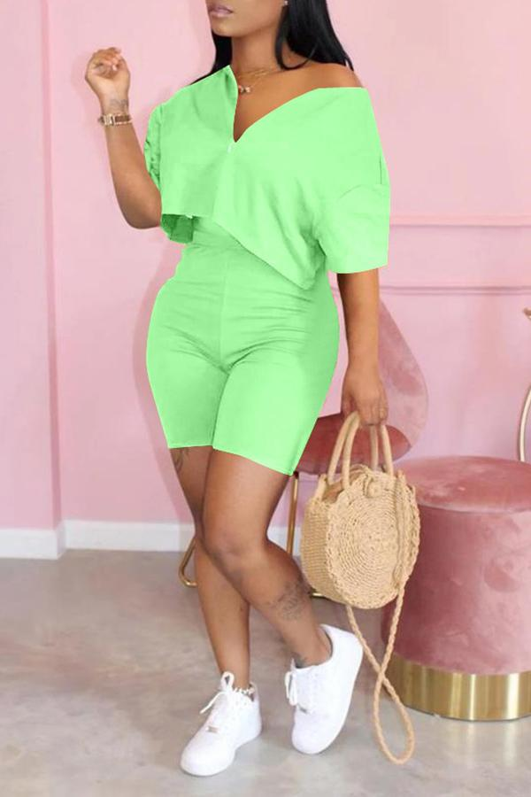 Solid Color V-neck Short Sleeve Two-piece Suit