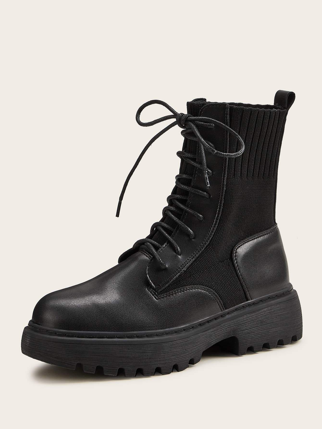Lace-up Front Knit Panel Combat Boots