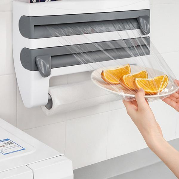 Multifunction Plastic Wrap and Foil Dispenser with Spice Rack【Punch-free】