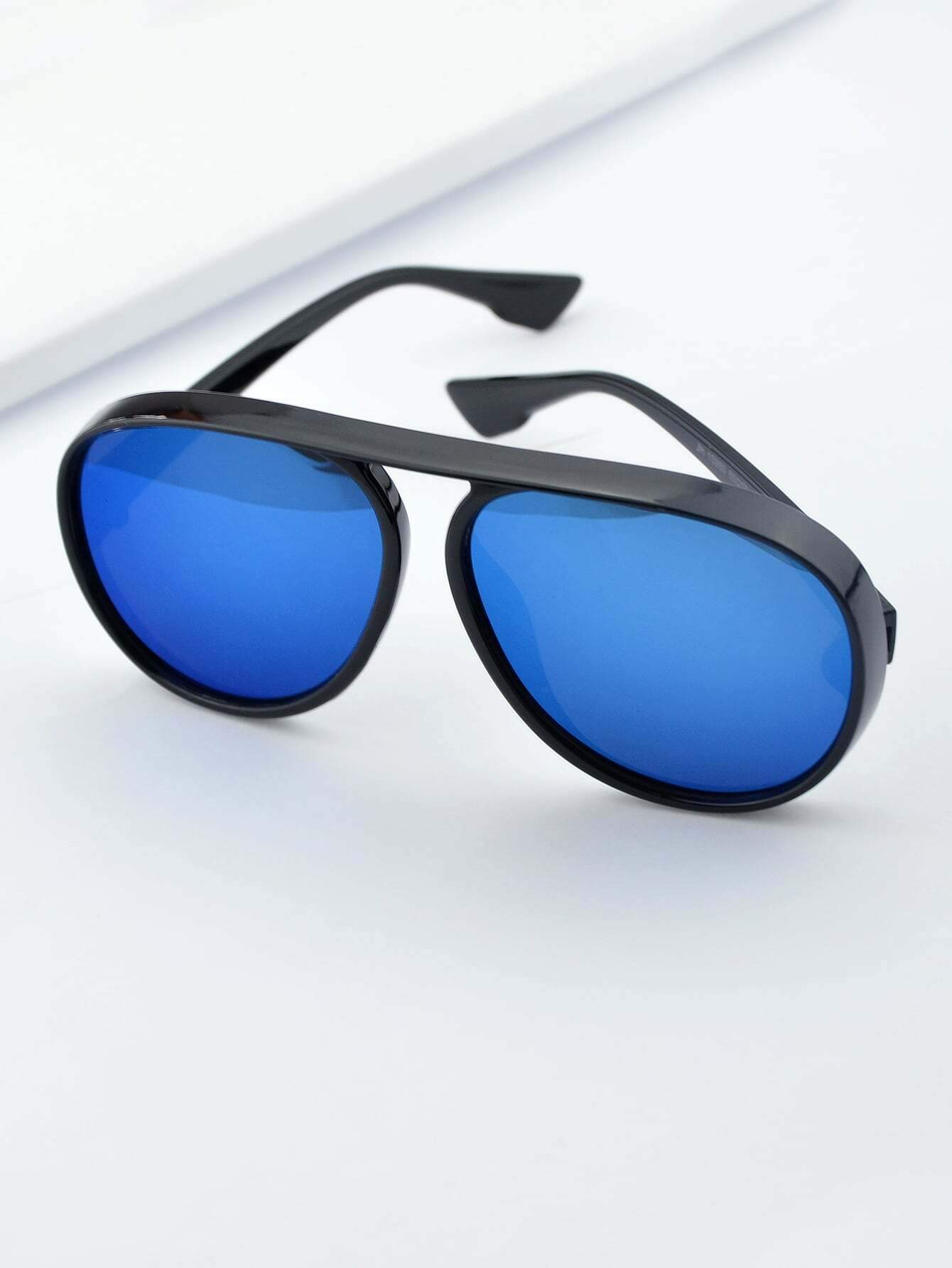 BLue Large Frame Thick Side Sunglasses