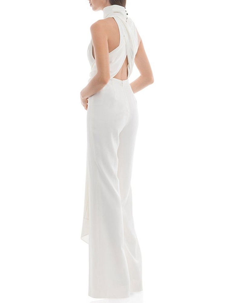 Sexy Backless Sleeveless Solid Color Jumpsuit