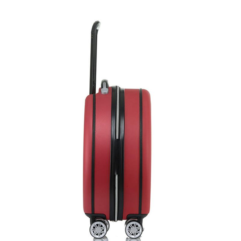 Vintage style white stripe round suitcase red luggage with wheel roller bag-1.9